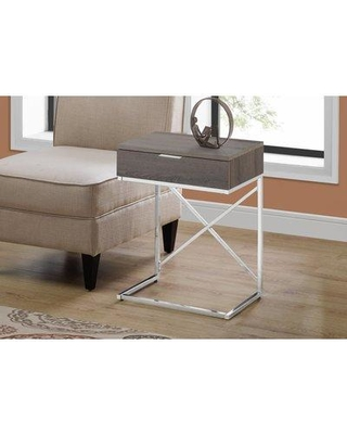 Mercer41 Wason End Table with Storage BI184852 Table Base Color: Silver Table Top Color: Taupe