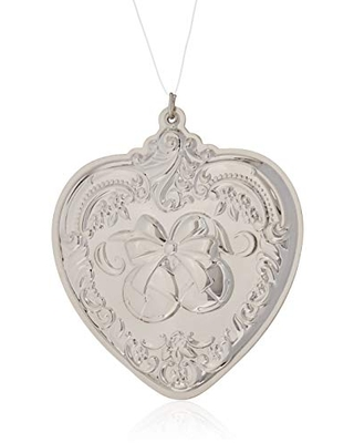 Wallace 2018 Grand Baroque Heart Sterling Silver Christmas Holiday Ornament, 27th Edition