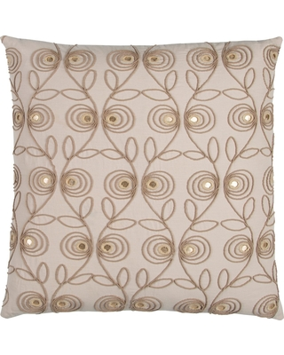 """Beige Floral Cotton Throw Pillow (20""""x20"""") - Rizzy Home"""