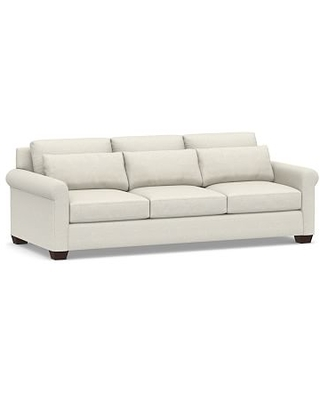 "York Deep Roll Arm Upholstered Grand Sofa 98"", Down Blend Wrapped Cushions, Performance Boucle Oatmeal"