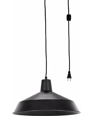 Globe Electric 65151 Barnyard 1 Light Plug In Pendant Matte Black 15ft Cord Line On Off Switch From Bhg