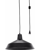 "Globe Electric Barnyard 1-Light 16"" Industrial Warehouse Plug-In Pendant, Black 15' Cord, Matte Black Finish, In-Line On/Off Switch, 65151"