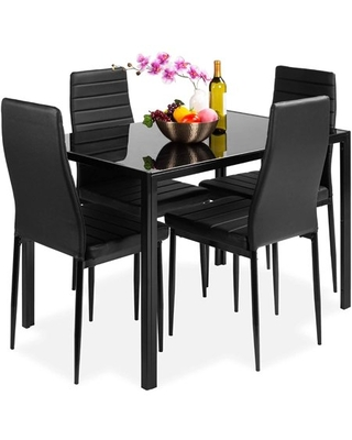 5 Piece Dining Table Set, Modern Furniture Rectangle Tempered Glass Top Table with 4 Piece High Backrest Faux Leather Chairs for Kitchen Dining Room Living Room, Black