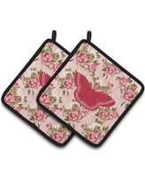 East Urban Home Butterfly Shabby Elegance Roses Pink Fabric Potholder EAAS4591