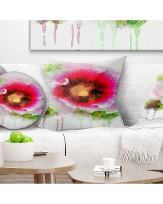 """Floral Poppy with Watercolor Splashes Pillow East Urban Home Size: 18"""" x 18"""", Product Type: Throw Pillow"""