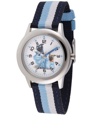 Disney Puppy Dog Pals Rolly, Bingo and A.R.F. Stainless Steel Time Teacher Watch, Blue and Black Stripe Nylon Strap