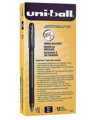 uni-ball JETSTREAM 101 Rollerball Pens, Bold Point, Black Ink, 12/Pack (1768011)   Quill