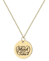 """Anavia """"Losing My Mind One Kid At A Time"""" Inspirational Stainless Steel Gold Disc Necklace 22mm Pendant Jewelry with Gift Box"""