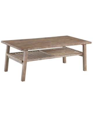 Farmhouse Wooden Coffee Table with Slatted Bottom Shelf Rustic Brown - Benzara
