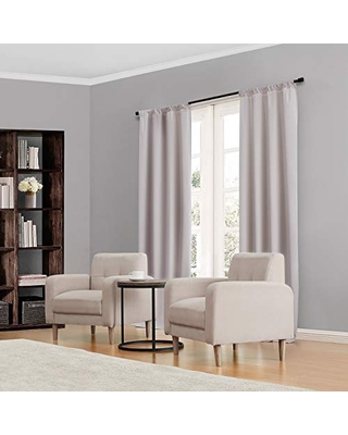 """ECLIPSE Kendall Thermal Insulated Single Panel Rod Pocket Darkening Curtains for Living Room, 42"""" x 84"""", Grey"""