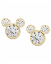Disney Children's Cubic Zirconia Mickey Mouse Stud Earrings in 14k Gold - Yellow Gold