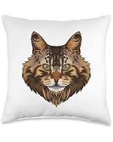 Crazy Animal World Face Cute Maine Coon Cat Breed Animal Kids Boys Throw Pillow, 16x16, Multicolor