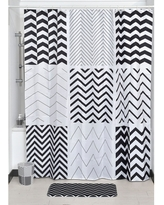 """Extra Length Polyester Bathroom Shower Curtain Zigzag 71""""L x 79""""H (Black And White - 71Wx78H Inch /180cmx200cm)"""