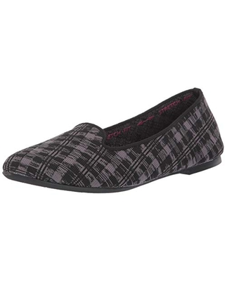 Skechers Women's Cleo-Study Hall-Plaid Engineered Knit Loafer Skimmer Ballet Flat, Black/Charcoal, 5.5 M US