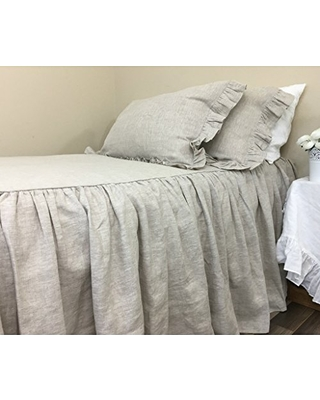 Natural Linen Bedspread Medium Weight Linen, Undyed, Ruffle Bed Covers, No Dye, No Coloring, Linen Coverlet, Shabby Chic Bedding, Queen Bedspread, King Bedspread, FREE SHIPPING
