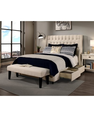 Difranco Upholstered Wingback Headboard and Bench Darby Home Co Size: California King, Upholstery: Ivory