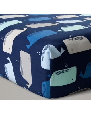 Fitted Crib Sheet Whales - Cloud Island Navy, Size: standard crib, Blue