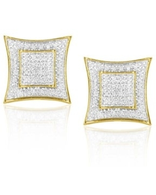 Luxurman Yellow Goldplated Silver 1/4ct TDW Diamond Square Earrings (Goldplated Sterling Silver)