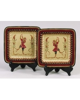 AA Importing 2 Piece Handpainted Square Monkey Plate Set 58413