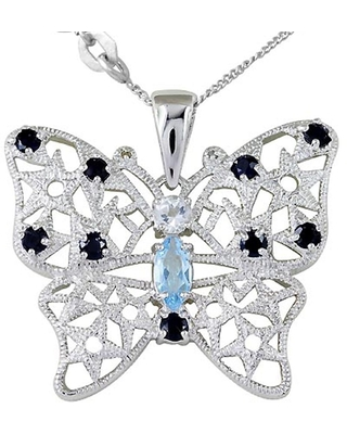 Topaz, Sapphire, Diamond Sterling Silver Marquise Solitaire Pendant by Orchid Jewelry
