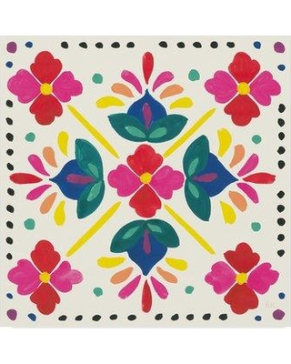 """World Menagerie 'Floral Fiesta White Tile I' Photographic Print on Wrapped Canvas WRME2275 Size: 35"""" H x 35"""" W x 2"""" D"""