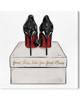 """House of Hampton 'Good Shoes Gift' Graphic Art Print BF186706 Size: 20"""" H x 20"""" W x 1.5"""" D Format: Wrapped Canvas"""