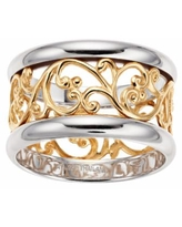 Two-Tone over Sterling Silver Filigree Band Ring, Women's, Size: 8, Multicolor