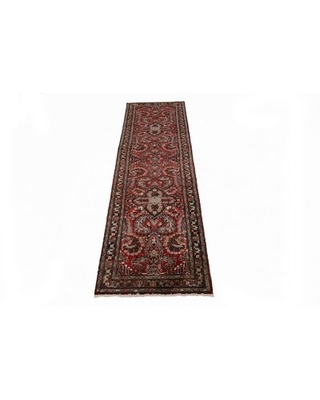 """One-of-a-Kind Hand-Knotted 1980s Lilian Cherry Red 3'5"""" x 13'1"""" Runner Wool Area Rug"""
