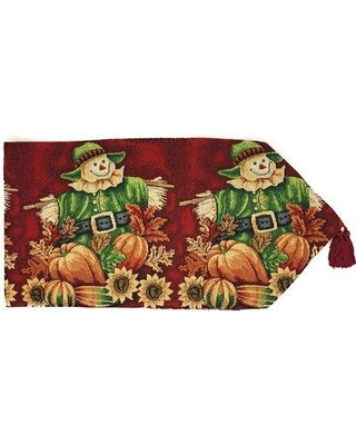 "August Grove Ulises Pumpkin Patch Scarecrow Woven Tapestry Table Runner W000987558 Size: 90"" W x 13"" L"