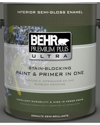 BEHR Premium Plus Ultra 1 gal. #bxc-63 Molten Lead Semi-Gloss Enamel Interior Paint and Primer in One, Grays