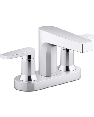 KOHLER Taut Polished Chrome 2-Handle 4-in Centerset WaterSense Bathroom Sink Faucet with Deck Plate | K-97031-4-CP