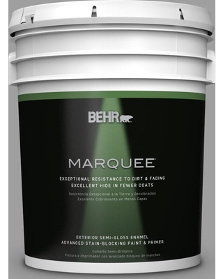 BEHR MARQUEE 5 gal. #PPU26-06 Elemental Gray Semi-Gloss Enamel Exterior Paint and Primer in One
