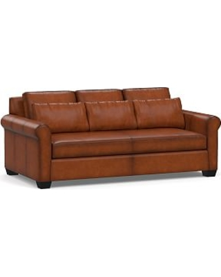 """York Deep Seat Roll Arm Leather Sofa 83"""" with Bench Cushion, Polyester Wrapped Cushions, Burnished Saddle"""