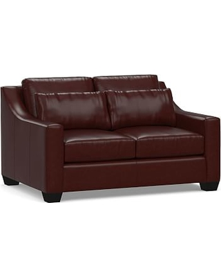 """York Deep Seat Slope Arm Leather Loveseat 60"""", Polyester Wrapped Cushions, Signature Espresso"""