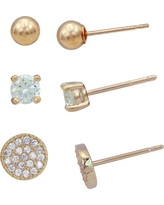 Earring Set Plated Cubic Zirconia/Ball/Pave Disc - 3pk - Gold/Clear, Yellow