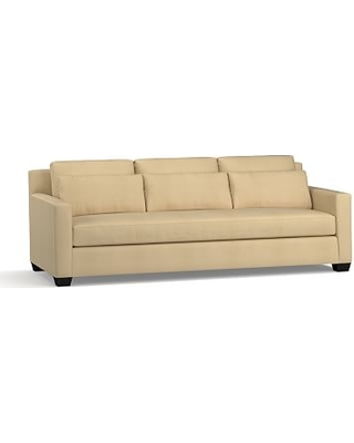 """York Square Arm Upholstered Deep Seat Grand Sofa 94"""" with Bench Cushion, Down Blend Wrapped Cushions, Performance Everydaysuede(TM) Oat"""