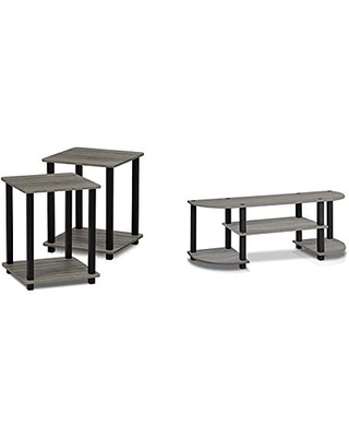 FURINNO Simplistic End Table, French Oak Grey/Black & Turn-S-Tube TV Entertainment Center, French Oak Grey
