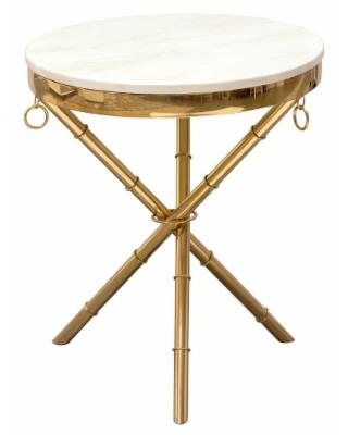 Reed Round Accent Table w/ White Marble Top and Gold Finished Metal Base - Diamond Sofa REEDETGD