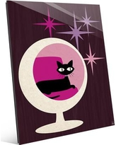 """Click Wall Art Cat in Sphere Chair Pink Graphic Art on Plaque RET0000637GLS Size: 14"""" H x 11"""" W x 1"""" D"""