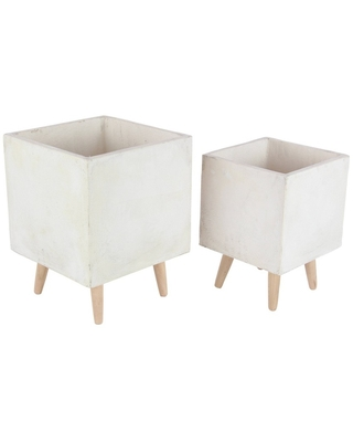 Set of 2 Contemporary Fiber Clay Square Planters with Wooden Stand White - Olivia & May