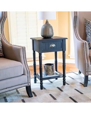 Bailey Bead board 1-Drawer Accent Table (Black)