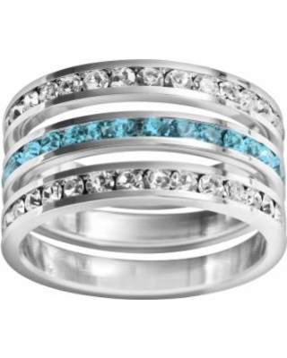 Traditions Sterling Silver Crystal Eternity Ring Set, Women's, Size: 8, multicolor
