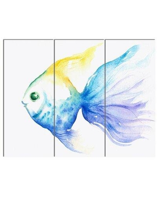 Design Art 'Lovely Blue Fish Watercolor' 3 Piece Painting Print on Wrapped Canvas Set PT13279-3P