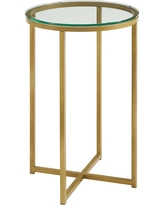 16 Round Side Table - Gold/Glass - Saracina Home