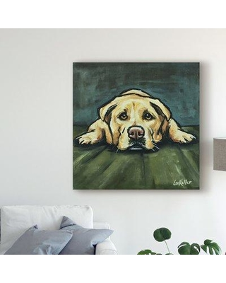 """Winston Porter 'Lab In Floor' Acrylic Painting Print on Wrapped Canvas W001174123 Size: 35"""" H x 35"""" W x 2"""" D"""