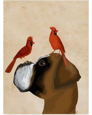 """Winston Porter 'Boxer and Red Cardinals' Graphic Art Print on Wrapped Canvas WNPO3755 Size: 32"""" H x 24"""" W x 2"""" D"""
