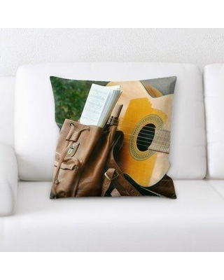Find Big Savings On Latitude Run Johana Acoustic Guitar On A Bench W Bag Of Notes Throw Pillow Microsuede Polyester Polyfill In Brown Orange Green Size 18x18