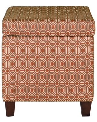 Geometric Patterned Square Wooden Ottoman with Lift Off Lid Storage Orange/Cream - Benzara