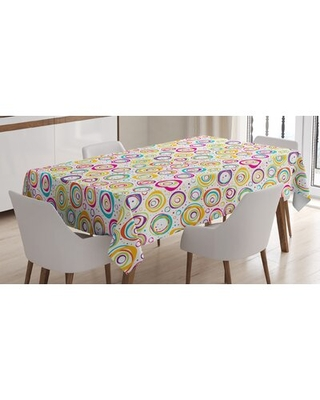 "Pattern With Circles And Dots Bubble Rings Spotted Springtime Enjoyment Theme Tablecloth East Urban Home Size: 70"" x 52"""