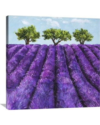 """Global Gallery 'Filari di Lavanda' by Massimo Germani Painting Print on Wrapped Canvas GCS-460859- Size: 36"""" H x 36"""" W x 1.5"""" D"""